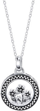 Footnotes Silver Round Flowers Pendant Necklace