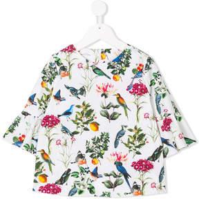 Oscar de la Renta Kids Botanical Birds Bell Bow blouse
