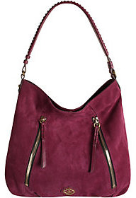 As Is orYANY Italian Suede Hobo with Zipper Details- Laurie