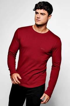 boohoo MAN Branded Long Sleeve Skinny Fit T-Shirt