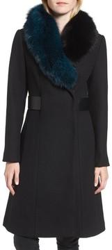 1 Madison Women's Wool Blend Jacket With Genuine Fox Fur Trim
