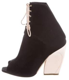 Christian Dior Woven Lace-Up Booties