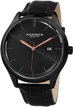 Akribos XXIV Mens Black Strap Watch-A-914bk