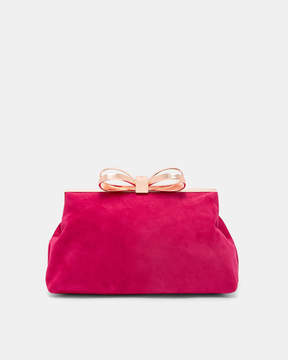 Ted Baker CARLIAA Suede bow clutch bag
