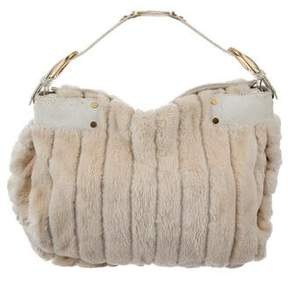 Jimmy Choo Snakeskin-Trimmed Fur Hobo