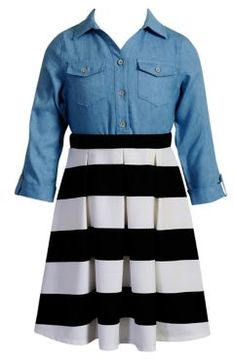 Sweet Heart Rose Sweetheart Rose Girl's Denim Striped Shirtdress