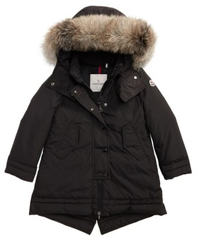 Moncler Girl's Yolande Hooded Down Jacket With Genuine Fox Fur