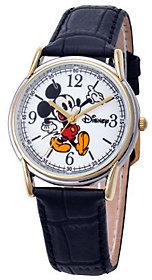 Disney Men's Cardiff Mickey Leather Strap Watch