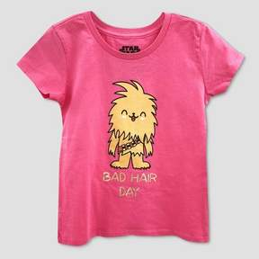 Star Wars Girls' Chewbacca 'Bad Hair Day' Short Sleeve Graphic T-Shirt - Pink