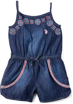 U.S. Polo Assn. Blue Embroidered Romper - Toddler