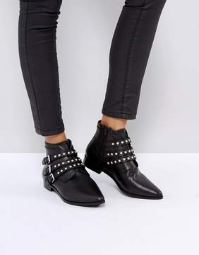 Asos ALERTED Leather Studded Ankle Boots