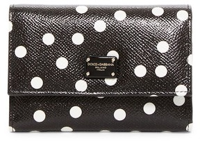 Dolce & Gabbana Leather Polka Dot Trifold Wallet - BLACK - STYLE