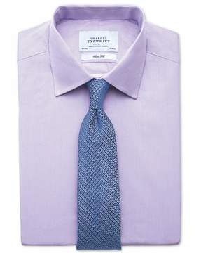 Charles Tyrwhitt Slim Fit Fine Stripe Lilac Cotton Dress Shirt French Cuff Size 14.5/33