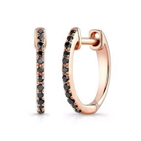 Anne Sisteron Rose Gold Black Diamond Huggie Earrings