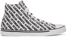 Vetements White and Black Canvas Logo High-Top Sneakers