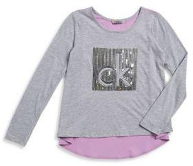 Calvin Klein Jeans Girl's Hi-Lo Sequined Tee