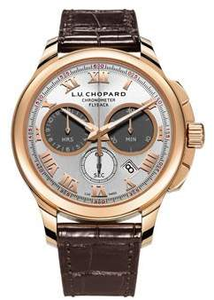 Chopard L.U.C. Chrono One Silver Dial 18 kt Rose Gold Brown Leather Men's Watch