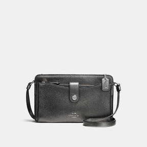 COACH POP-UP MESSENGER IN METALLIC LEATHER - f33738 - SILVER/METALLIC GRAPHITE