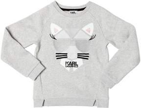 Karl Lagerfeld Cat Embroidered Cotton Sweatshirt