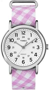 Timex Women's Weekender Watch, Pink Gingham Nylon Slip-Thru Strap
