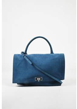 Givenchy Pre-owned Blue Suede Silver Tone Front Flap shark Satchel Bag.