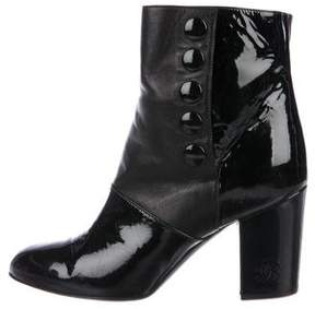 Chanel Patent Leather Round-Toe Ankle Boots