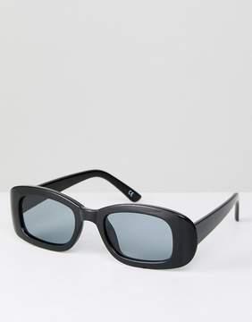 Asos Small Square 90s Sunglasses In Black
