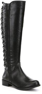 Gianni Bini Picard Slim Calf Lattice Back Detail Block Heel Riding Boots