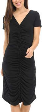 Bellino Black Ruched Cap-Sleeve Dress - Women
