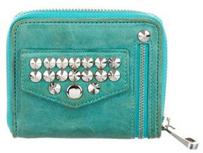 Rebecca Minkoff Stud-Embellished Compact Wallet - GREEN - STYLE