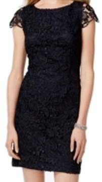Vince Camuto Women's Illusion-Back Lace Overlay Sheath Dress (12, Navy)