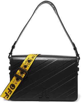 Off-White Medium Embossed Leather Shoulder Bag - Black