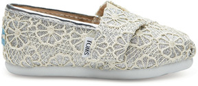 Toms Kids' Silver Crochet Slip-On