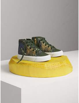 Burberry Beasts Print Cotton and Leather High-top Trainers