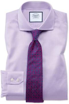 Charles Tyrwhitt Extra Slim Fit Spread Collar Non-Iron Puppytooth Lilac Cotton Dress Shirt Single Cuff Size 14.5/32