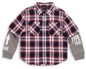 Diesel Toddler's & Little Boy's Carlok Cotton Plaid Sweatshirt