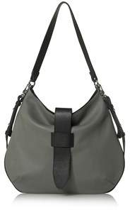 Joanna Maxham Tulip Hobo In Grey Pebbled Leather With Black Trim.