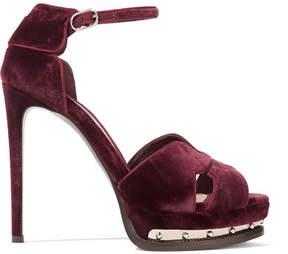 Alexander McQueen Embellished Velvet Platform Sandals - Merlot