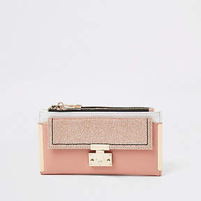 River Island Pink glitter lock front fold out purse