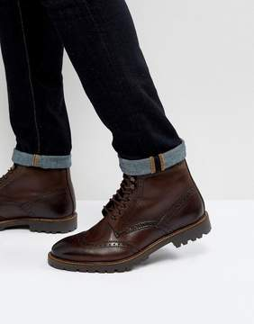 Base London Troop Leather Lace Up Boots In Brown