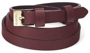 Aspinal of London Mayfair Skinny Double Wrap Leather Bracelet In Smooth Bordeaux