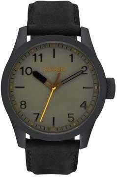 Nixon Men's 'Safari Leather' 43mm All Black / Gray Watch