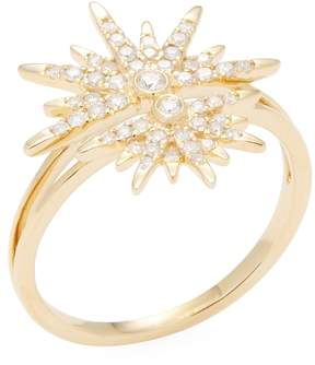 Artisan Women's 18K Yellow Gold & 0.34 Total Ct. Diamond Split Shank Star Ring