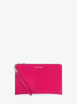 Michael Kors Jet Set Extra-Large Perforated Leather Clutch - PINK - STYLE