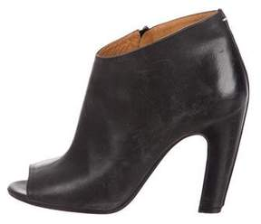 Maison Margiela Peep-Toe Leather Ankle Boots