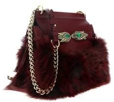 Roberto Cavalli Bordeaux Fox Fur Shoulder Bag