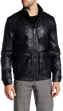 Kenneth Cole New York Faux Leather Zip Jacket