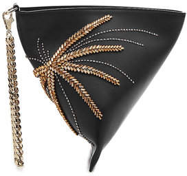 Les Petits Joueurs Cosmo Palms Embellished Leather Clutch