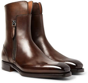 Ermenegildo Zegna Polished-Leather Boots