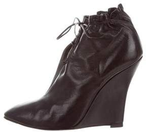 Cesare Paciotti Leather Wedge Booties